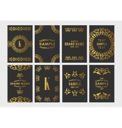 Set of Art Deco Logo Frame and Monogram Golden on vector image