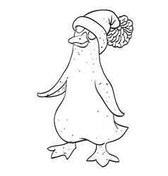 cartoon image of penguin wearing hat vector image vector image