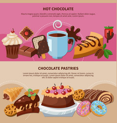 chocolate pastries flat banners vector image vector image