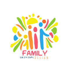 colorful family logo design with mother father vector image