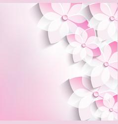 Floral background greeting card 3d flowers sakura vector image