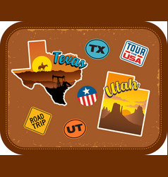 texas utah travel stickers and retro text vector image