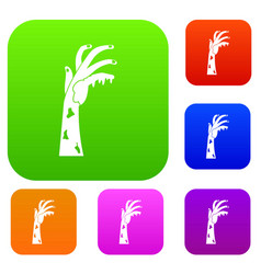 zombie hand set color collection vector image