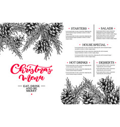 christmas menu restaurant and cafe template vector image