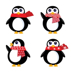 christmas retro penguin vector image vector image