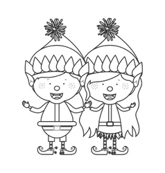 contour with couple of christmas gnome children vector image