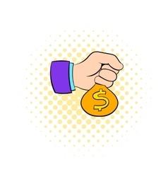 Money in hand icon comics style vector