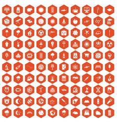 100 moon icons hexagon orange vector
