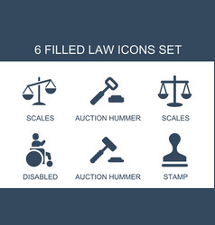 6 law icons vector
