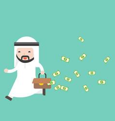 Arab businessman running with leak money bag vector