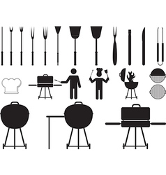 Barbecue grill and tools vector image