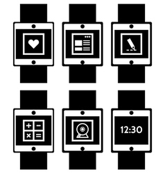Black icons for smart watch vector image