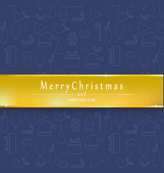 blue background merry christmas and happy new vector image
