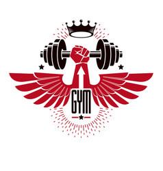 Bodybuilding weightlifting gym logotype sport vector