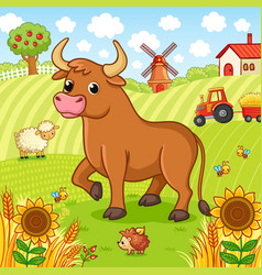Bull stands on a field next to a hedgehog and a vector