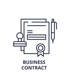 business contract line icon concept business vector image