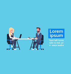 Business man on job interview with female hr vector
