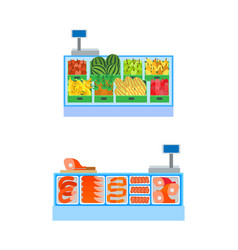 butcher and vegetable departments isolated vector image