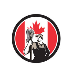 canadian industrial cleaner canada flag icon vector image