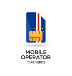 Cape verde mobile operator sim card with flag vector