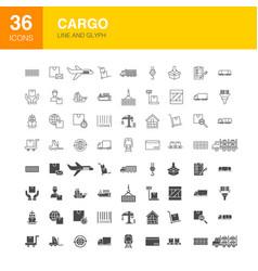 Cargo line web glyph icons vector