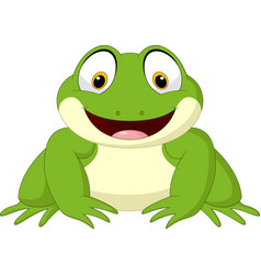 Cartoon happy frog isolated on white background vector