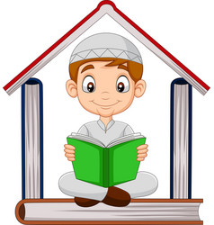 cartoon muslim boy reading a book with pile boo vector image
