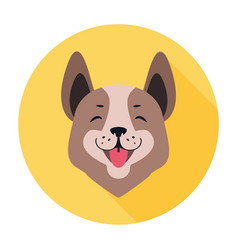 Central asian shepherd dog flat icon doggy head vector