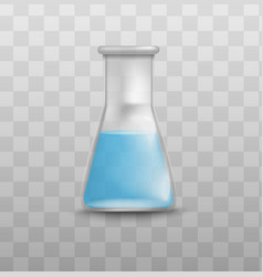 chemistry lab glass beaker with blue liquid vector image