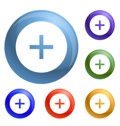 circle plus icons set vector image