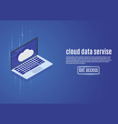 Cloud data storage web hosting isometric server vector