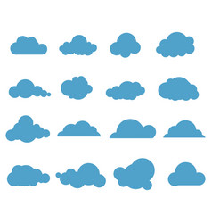 Clouds blue sky with different cloud shapes cute vector
