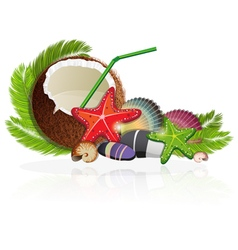 Coconut cocktail with palm branches vector image