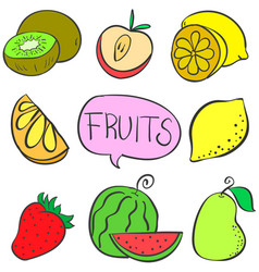 Collection stock various fruit doodles vector