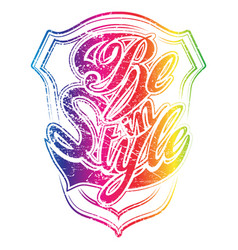 Colorful version of be in style print vector