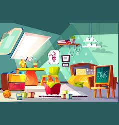 Comfortable kids room on mansard cartoon vector