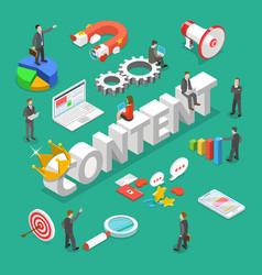 content is king flat isometric concept vector image