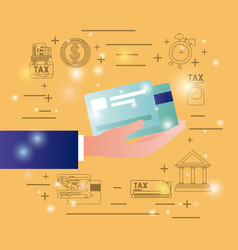 credit cards with finance set icons vector image