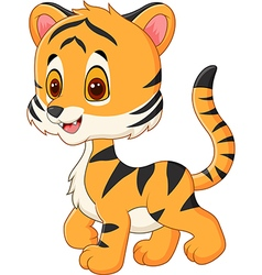 Cute baby tiger posing isolated vector
