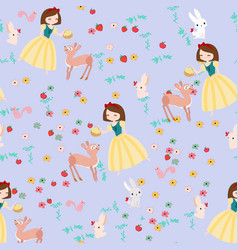 cute cartoon princess and wild animal seamless vector image