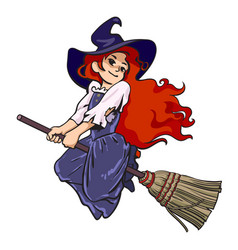 Cute young halloween witch flying on broom vector