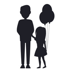 daughter holding balls and her father family card vector image