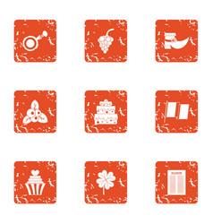 Dessert medieval icons set grunge style vector