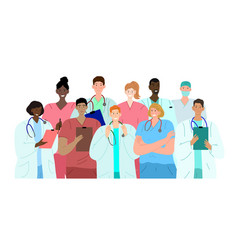 diverse group doctors friendly medical staff vector image