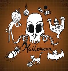 doodles Halloween on paper vector image
