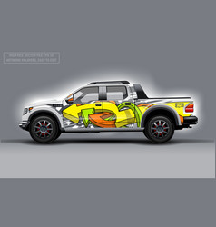 Editable template for wrap suv with abstract vector