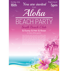 Evening beach party sea poster traditional aloha vector