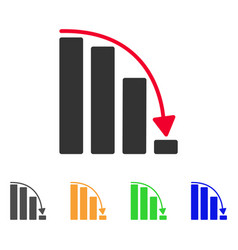 falling acceleration bar chart icon vector image