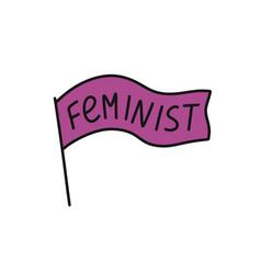 Feminist flag doodle icon vector