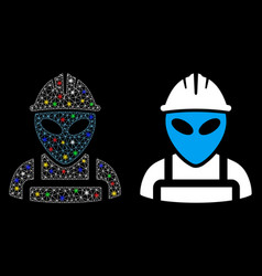 Flare mesh wire frame alien worker icon with flare vector
